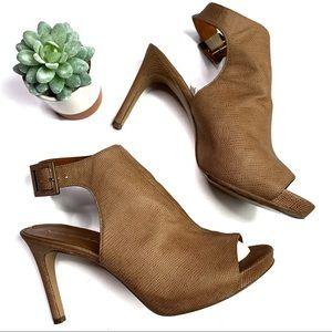 Via Spiga Tan Peep Toe Open Back Heels Size 8.5